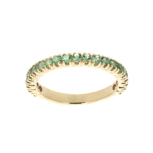 Ювелирное кольцо из красного золота 585 пробы с изумрудами RE-15011