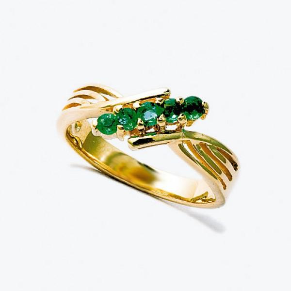 Ювелирное кольцо из красного золота 585 пробы с изумрудами RE-32440