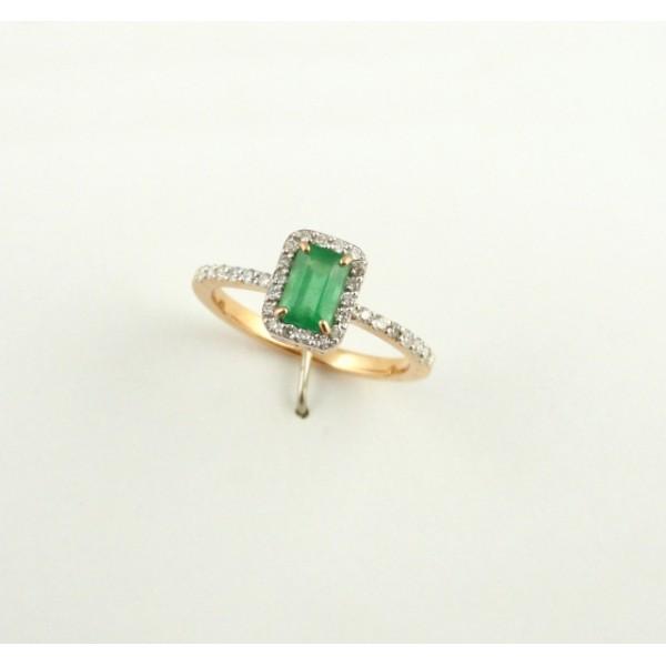 Ювелирное кольцо из красного золота 585 пробы с изумрудом и бриллиантами RE-6602