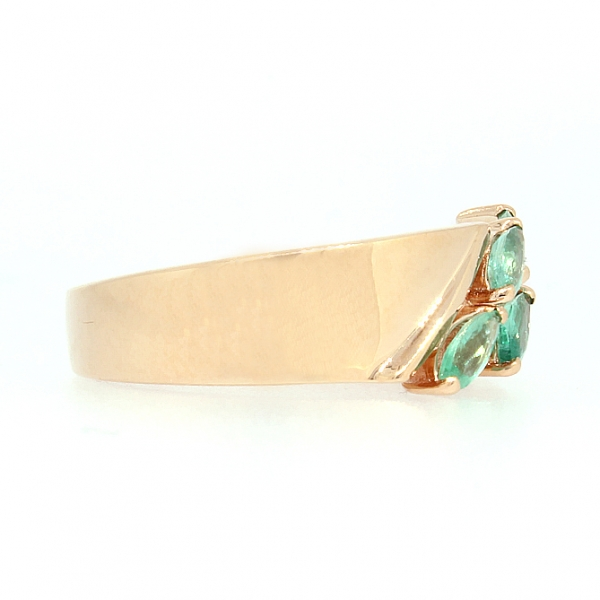 Ювелирное кольцо из красного золота 585 пробы с изумрудами RE-6533