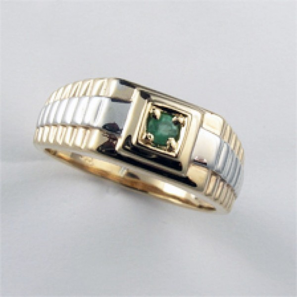 Ювелирное мужское кольцо из красного золота 585 пробы с изумрудом RE-3671