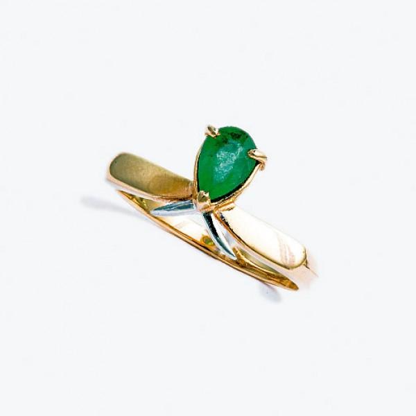 Ювелирное кольцо из красного золота 585 пробы с изумрудом RE-6018