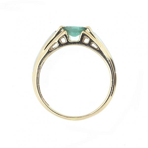 Ювелирное кольцо из красного золота 585 пробы с изумрудом RE-6008