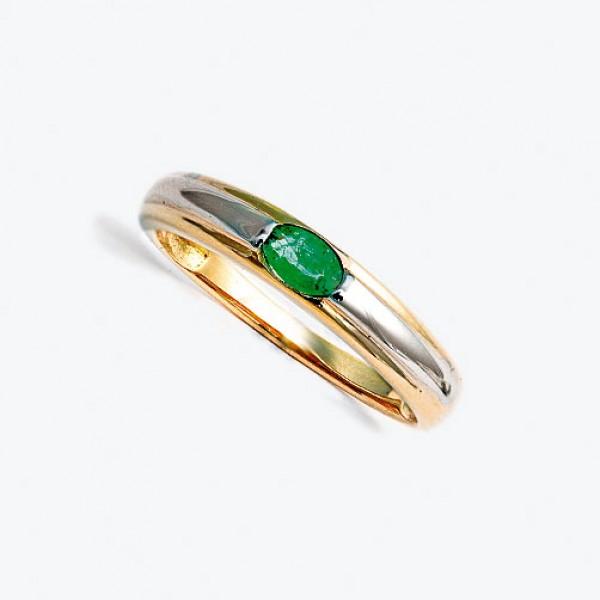 Ювелирное кольцо из красного золота 585 пробы с изумрудом RE-6079