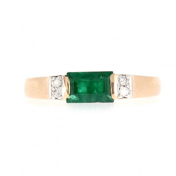 Ювелирное кольцо из красного золота 585 пробы с изумрудом и бриллиантами RE-6074