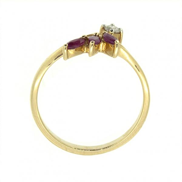 Ювелирное кольцо из красного золота 585 пробы с рубинами и бриллиантом RR-26