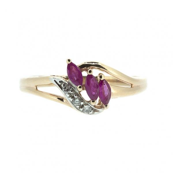 Ювелирное кольцо из красного золота 585 пробы с рубинами и бриллиантами RR-4284