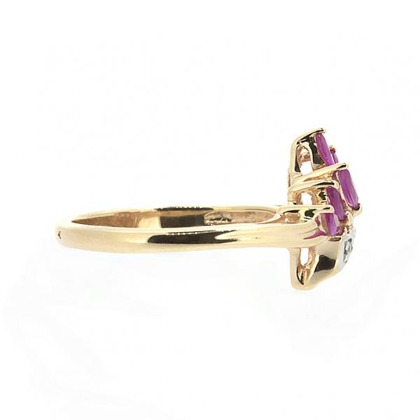 Ювелирное кольцо из красного золота 585 пробы с рубинами и бриллиантами RR-4306