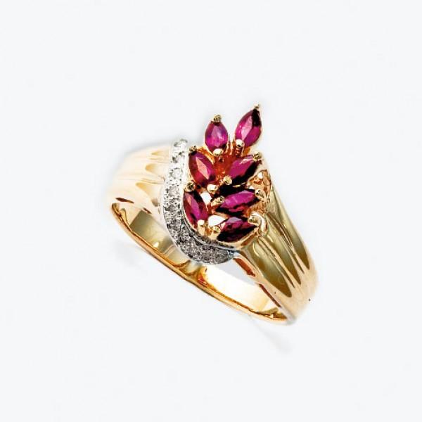Ювелирное кольцо из красного золота 585 пробы с рубинами и бриллиантами RR-6090