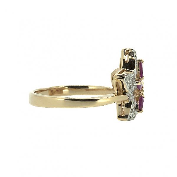 Ювелирное кольцо из красного золота 585 пробы с рубинами и бриллиантами RR-6142