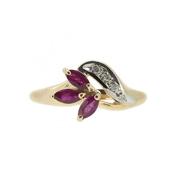 Ювелирное кольцо из красного золота 585 пробы с рубинами и бриллиантами RR-9002