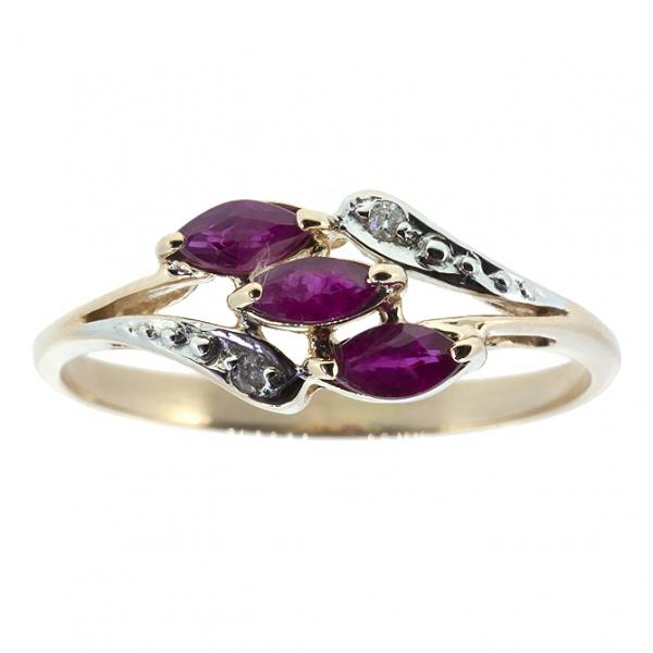 Ювелирное кольцо из красного золота 585 пробы с рубинами и бриллиантами RR-70016
