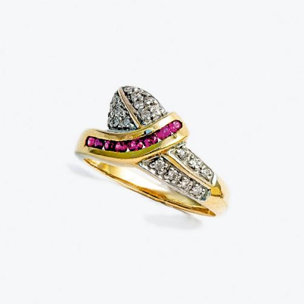 Ювелирное кольцо из красного золота 585 пробы с рубинами и бриллиантами RR-925