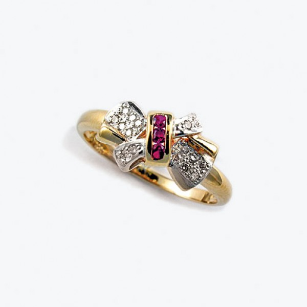 Ювелирное кольцо из красного золота 585 пробы с рубинами и бриллиантами RR-2278
