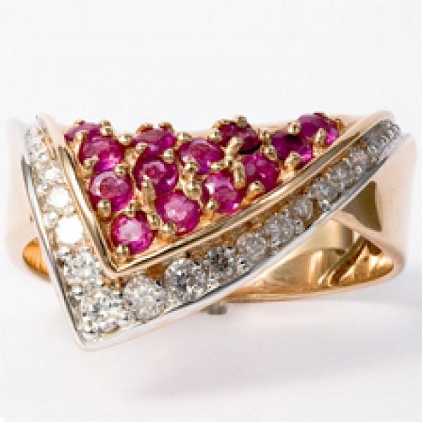 Ювелирное кольцо из красного золота 585 пробы с рубинами и бриллиантами RR-6005