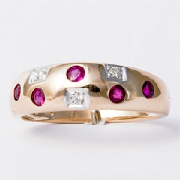 Ювелирное кольцо из красного золота 585 пробы с рубинами и бриллиантами RR-6048