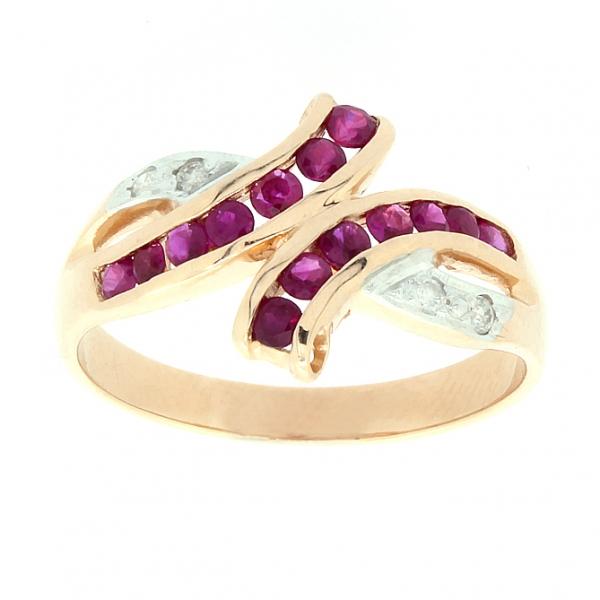 Ювелирное кольцо из красного золота 585 пробы с рубинами и бриллиантами RR-6116