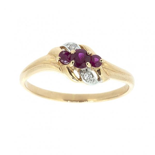 Ювелирное кольцо из красного золота 585 пробы с рубинами и бриллиантами RR-6129