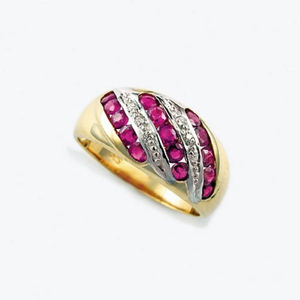 Ювелирное кольцо из красного золота 585 пробы с рубинами и бриллиантами RR-6133