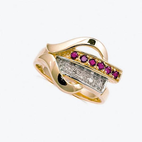 Ювелирное кольцо из красного золота 585 пробы с рубинами и бриллиантами RR-6456