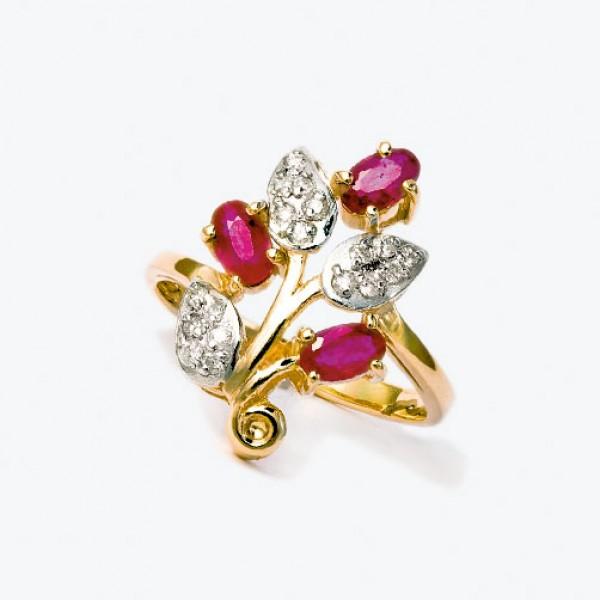 Ювелирное кольцо из красного золота 585 пробы с рубинами и бриллиантами RR-6152