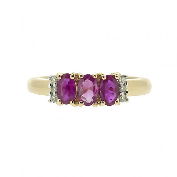 Ювелирное кольцо из красного золота 585 пробы с рубинами и бриллиантами RR-10353