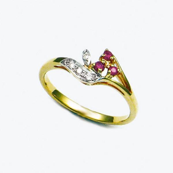 Ювелирное кольцо из красного золота 585 пробы с рубинами и бриллиантами RR-15753