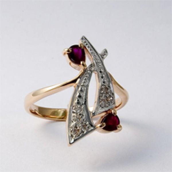Ювелирное кольцо из красного золота 585 пробы с рубинами и бриллиантами RR-6149