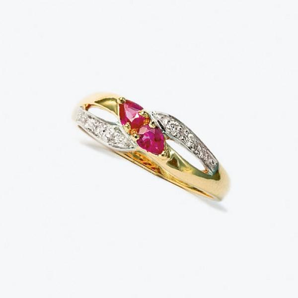 Ювелирное кольцо из красного золота 585 пробы с рубинами и бриллиантами RR-9007