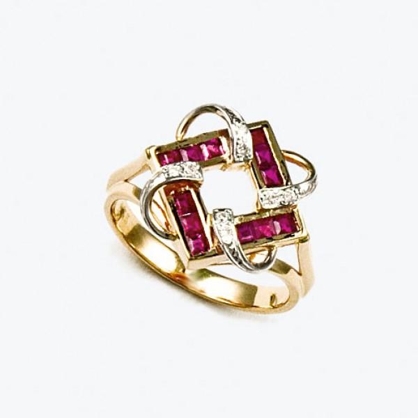 Ювелирное кольцо из красного золота 585 пробы с рубинами и бриллиантами RR-6165