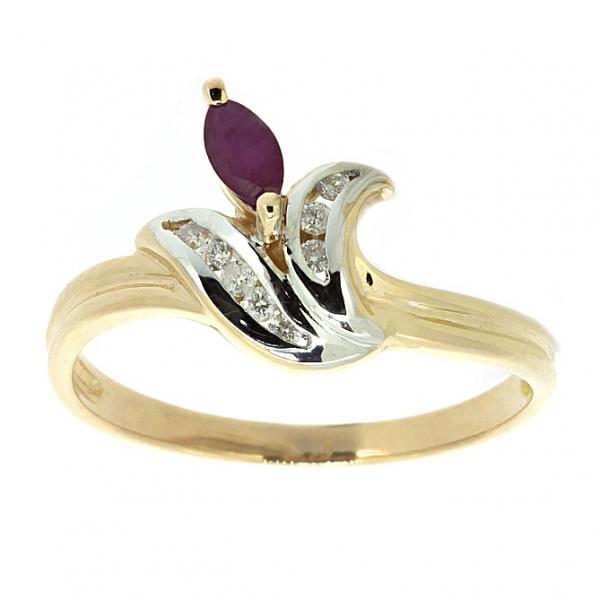 Ювелирное кольцо из красного золота 585 пробы с рубином и бриллиантами RR-27