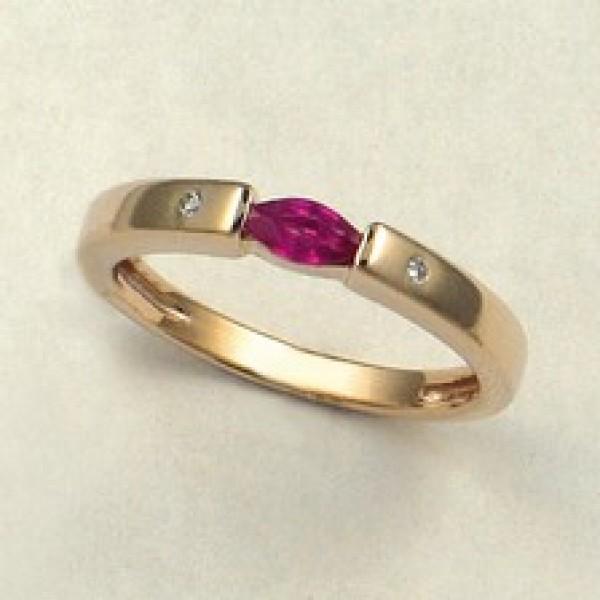 Ювелирное кольцо из красного золота 585 пробы с рубином и бриллиантами RR-6049