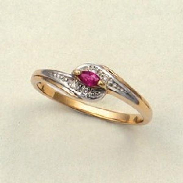 Ювелирное кольцо из красного золота 585 пробы с рубином и бриллиантами RR-6057
