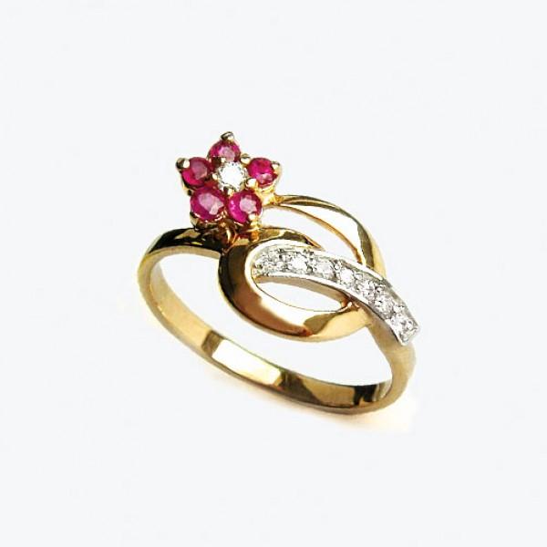 Ювелирное кольцо из красного золота 585 пробы с рубинами и бриллиантами RR-6488
