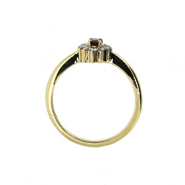 Ювелирное кольцо из красного золота 585 пробы с рубином и бриллиантами RR-9040