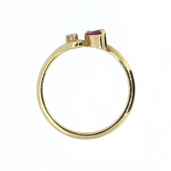Ювелирное кольцо из красного золота 585 пробы с рубином и бриллиантом RR-15809