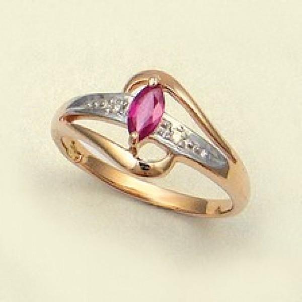 Ювелирное кольцо из красного золота 585 пробы с рубином и бриллиантами RR-15904