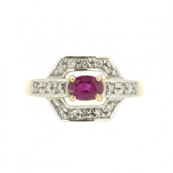 Ювелирное кольцо из красного золота 585 пробы с рубином и бриллиантами RR-588