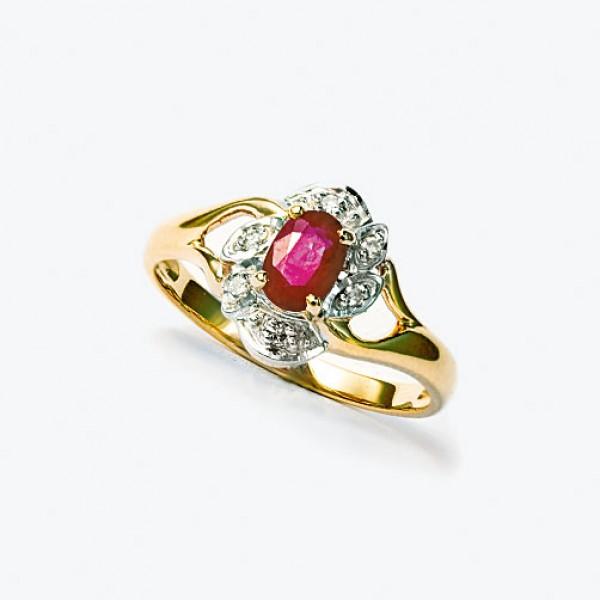 Ювелирное кольцо из красного золота 585 пробы с рубином и бриллиантами RR-621
