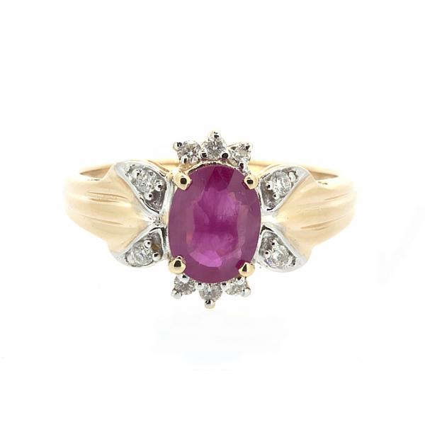 Ювелирное кольцо из красного золота 585 пробы с рубином и бриллиантами RR-1101