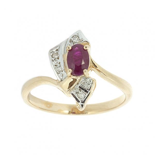Ювелирное кольцо из красного золота 585 пробы с рубином и бриллиантами RR-1144