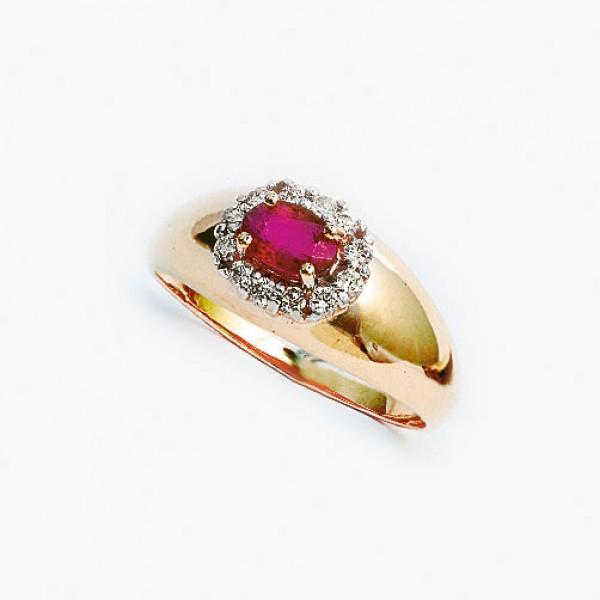 Ювелирное кольцо из красного золота 585 пробы с рубином и бриллиантами RR-3606