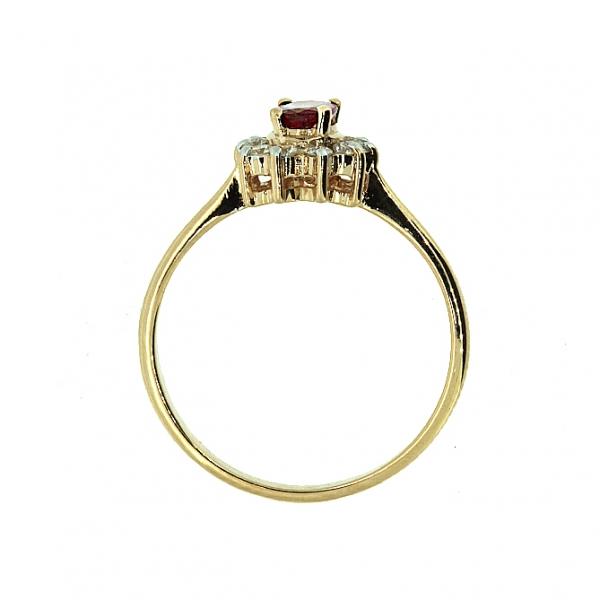 Ювелирное кольцо из красного золота 585 пробы с рубином и бриллиантами RR-4235