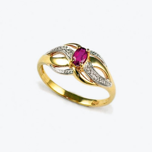 Ювелирное кольцо из красного золота 585 пробы с рубином и бриллиантами RR-6050