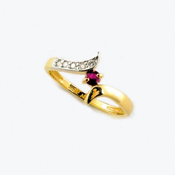 Ювелирное кольцо из красного золота 585 пробы с рубином и бриллиантами RR-6274