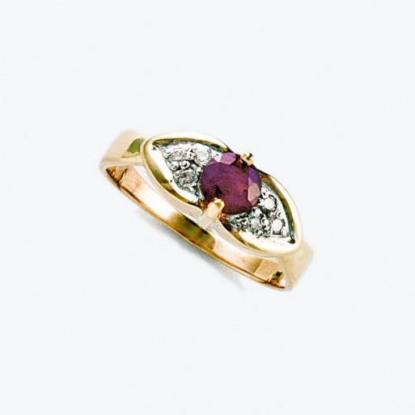 Ювелирное кольцо из красного золота 585 пробы с рубином и бриллиантами RR-6498