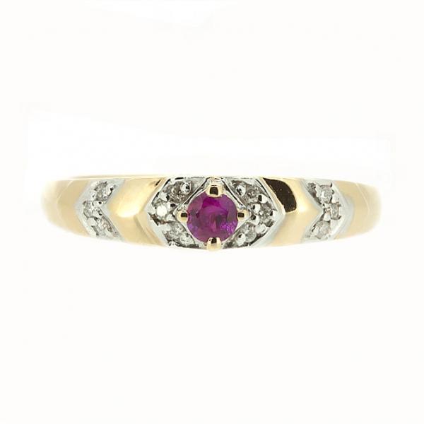 Ювелирное кольцо из красного золота 585 пробы с рубином и бриллиантами RR-9026