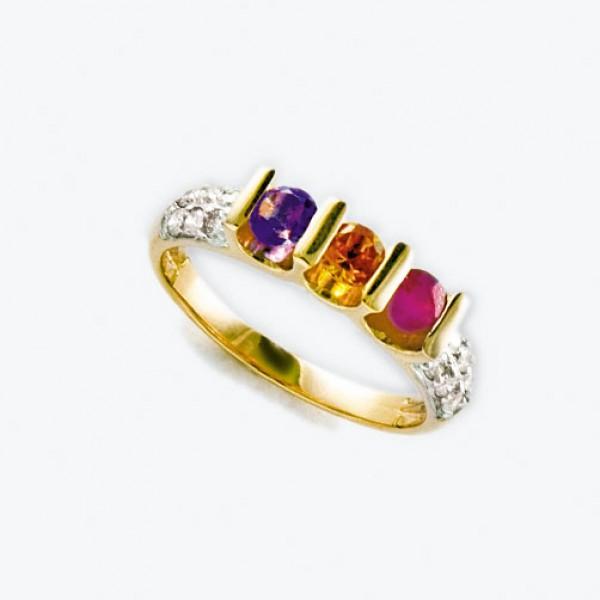 Ювелирное кольцо из красного золота 585 пробы с рубином, аметистом, цитрином и бриллиантами RRCtAm-6506