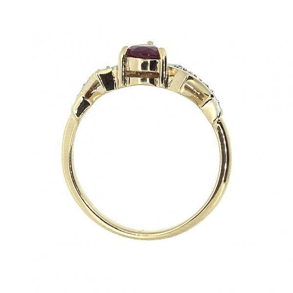 Ювелирное кольцо из красного золота 585 пробы с рубином и бриллиантами RR-6174