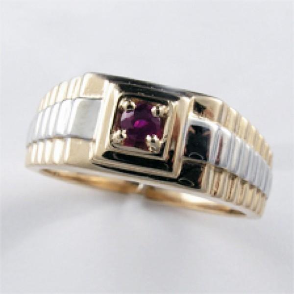 Ювелирное мужское кольцо из красного золота 585 пробы с рубином RR-3671